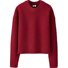 UNIQLO UNIQLO U 100% Lambswool Cropped Crew Neck Sweater (54,605 KRW) ❤ liked on Polyvore featuring tops, sweaters, red crew neck sweater, crewneck sweaters, drop shoulder sweater, red sweater and textured sweater