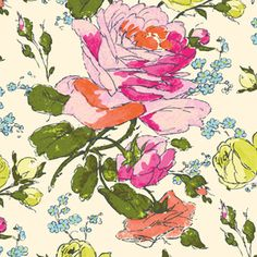 Amy Butler - Alchemy Organic - Sketchbook in Cream. I'm not usually a floral person, but I love this sketchy, modern take on the cabbage rose print.