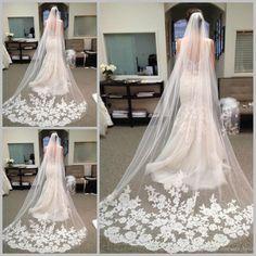 Veu De Noiva Longo Limited Hot Sale Ivory Wedding Veils 2015 Best Long Chapel Length Bridal Veils Wedding Veil Lace Purfle with Comb JY116 from Dresses_love,$41.04 | DHgate.com