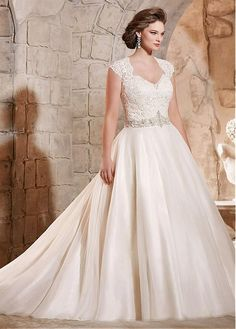Buy discount Elegant Organza Queen Anne Neckline A-line Plus Size Wedding Dress With Embroidery at Dressilyme.com