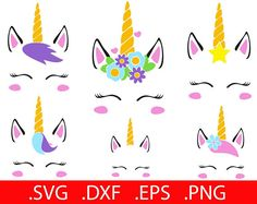 Flower Unicorn SVG Files Unicorn SVG Unicorn Face SVG Unicorn