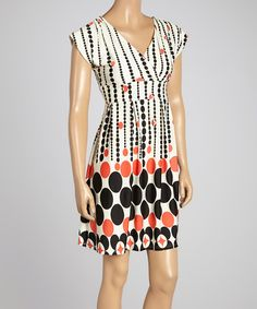 Look at this #zulilyfind! Red & Cream Geometric Surplice Dress by Reborn Collection #zulilyfinds