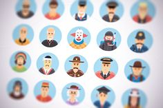 Flat vector persons icons set by painterr on Creative Market