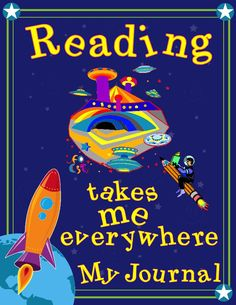 "Reading Journal in SPANISH in fun boy rides pencil to space city- ""Leyendo me lleva a todal partes"" (Reading takes me everywhere) 100 Days Of School, School Fun, Back To School, Reading Journals, Space City, School Signs, My Journal, 100th Day, Teacher Appreciation"