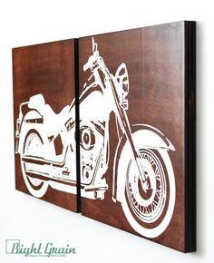 Motorcycle Wall Art  Harley Davidson Softail on Dark by RightGrain, $85.00 #HDNaughtyList