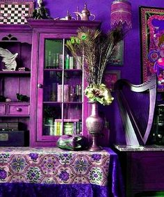 purple walls in kitchen