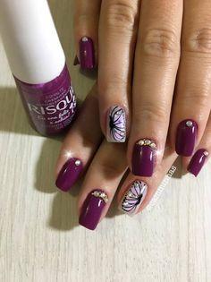 48 Modelos de Unhas Decoradas com Esmalte Roxo Toe Nail Color, Nail Colors, Toe Nails, Nail Designs, 1, Beauty, Feet Nails, Nail Jewels, Purple Nail