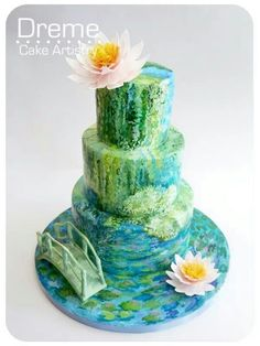 green, blue, bridge and flower cake