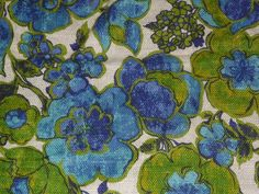 Vtg 5th Avenue 100% Linen Mod Groovy Floral Fabric Blue Green Upholstery Weight in Collectibles, Linens & Textiles (1930-Now), Fabric | eBay