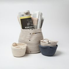 Residential basket from rope and yarn in size XL by dawuschn Keep It Simple, Storage Baskets, Austria, Design, How To Make, Handmade, Stuff To Buy, Tote Bag, Home Decor