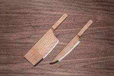 Facas Maple Set, de madeira de bordo, 32,6 x 9 cm e 33,5 x 4,5 cm, design Ian Murchison e Rohan Thakar, da The Federal Inc., preço sob consu...