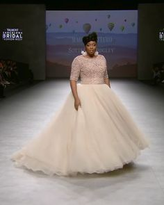 Maggie Sottero Look Spring 2020 Collection - Stunning Embellished Light Caramel Plus Size A-Lane Wedding Dress / Bridal Gown with Half Long Sleeves, V-Back Cut and small Train. Runway Show by Maggie Sottero Source by - Wedding Dress Winter, Wedding Dress Trends, Wedding Dress Styles, Stunning Wedding Dresses, Spring Wedding, Bridal Skirts, Plus Size Wedding Gowns, Plus Size Brides, Plus Size Gowns
