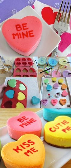 Conversation Heart Cheesecakes | 44 Valentine's Day Treats To Melt Your Heart#Day #crafts #home #make #diy #yourhomemagazine #gifts #making #recipes #eat #cook #valentines