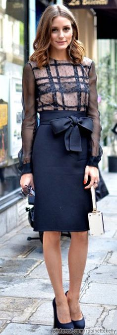 Olivia Palermo in darling cocktail/dinner dress. Long sleeves, high neck, knee length hem... everything I need!