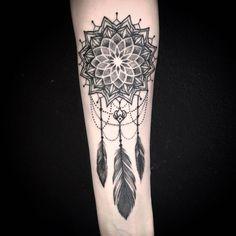 Tattoo by @sola_blackmeat from @blackheartattoo #mandalatattoo #mandala #dreamcatcher #dreamcatchertattoo #dot #dorwork #dotworktattoo by blackheartattoo