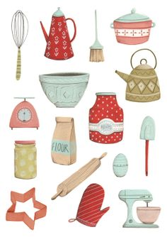Kitchen bits and bobs! Printable Stickers, Cute Stickers, Guache, Prop Design, Journal Stickers, Kitchen Art, Food Illustrations, Graphic Illustration, Cute Art