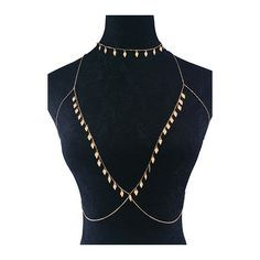 Metal Parallelogram Shape Pendant Necklace and Body Chain (£8.63) ❤ liked on Polyvore featuring jewelry, necklaces, gold, metal jewelry, metal necklace, metal jewellery, body chain necklace and pendant necklaces