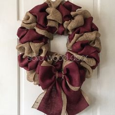 Burlap Wreath, Maroon Fall Burlap Wreath, Choose your colors, Aggie Football Burlap Wreath, Texa Wreath Hanger, Diy Wreath, Wreath Ideas, Holiday Wreaths, Mesh Wreaths, Fall Burlap Wreaths, Burlap Christmas Decorations, Fall Crafts, Crafts To Make