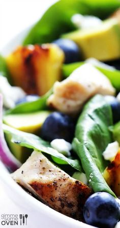 Grilled Pineapple, Chicken and Avocado Salad, #Avocado, #Chicken, #Grilled, #Salad