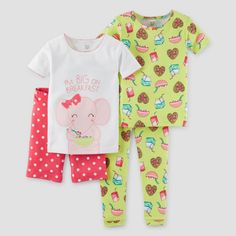 Toddler Girls' Snug Fit Cotton 4pc Pajama Set Pink 3T - Just One You Made by Carter's, Toddler Girl's