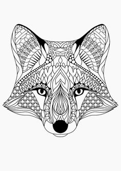Coloring for adults, love this little #fox! #adultcolouring #zentangle