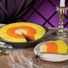 Candy Corn Cheesecake  [For us non-cooks, would readi-made cheesecake filling, separated, dyed, do?]