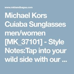 Michael Kors Cuiaba Sunglasses men/women [MK_37101] - Style Notes:Tap into your wild side with our oversized sunglasses. Designed with a striking snakeskin print, this square-frame pair adds exotic flair to everything, from sporty separates to a beach-bound bathing suit.Details:-Plastic Frame-100% UV -Case Included-Imported