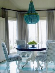 Luscious dining rooms - mylusciouslife.com - stripes on stripes. turquoise striped floor.