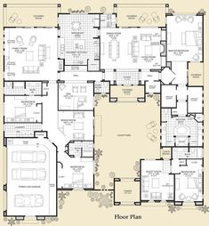 TOP 5 contender with a few changes. Floor Plan is what I like. I do not care for the exterior of the plan. Dream House Plans, House Floor Plans, My Dream Home, House Plans With Courtyard, Interior Courtyard House Plans, Mansion Floor Plans, Dream Homes, Castle House Plans, The Plan