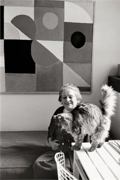 Sonia Delaunay, 1 9 5 7. © Getty Image. Artist, famously obsessed with capturing motion, fashion and fabric designer, wife of Robert Delaunay and cat lover.