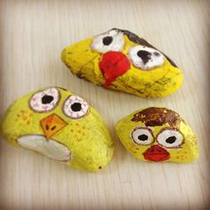 Painted rocks - art class - angry birds