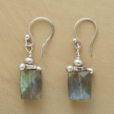 """LABRADORITE PILLAR EARRINGS--These labradorite earrings feature bead and barbell accents in sterling silver, crowning faceted labradorites beneath French wires. Handcrafted in USA exclusively for Sundance. 1-1/8""""L. Due to handmade nature shape and size will vary slightly."""