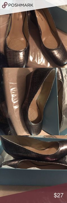 Antonio Melani silverstone wedges never been worn Never been worn silverstone color wedges perfect for the holiday events or even with jeans. Antonio Melani ANTONIO MELANI Shoes Wedges
