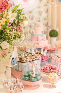 Beautiful dessert table for a bridal shower