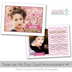 These are the Days Grad Announcement custom card by digital photoshop file for