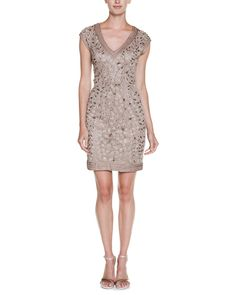 Spotted this Sue Wong Taupe Beaded Cap Sleeve Dress on Rue La La. Shop (quickly!).