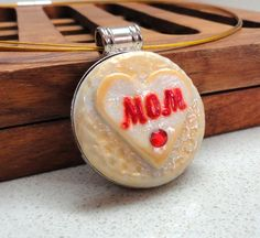 Mothres' day jewelry MOM pendant handmade of polymer by artefyk, $32.00