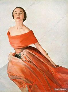 Grès 1950 Evening Gown, Organza, René Véron & Bianchini Férier  50s fashion :)