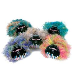 These cute little monsters are actually N.Y. Yarns Feather Yarn!