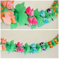 """- Garland is a total of 12-ft long - Made from good quality thin grade paper - Product dimension: 5"""" depth x 5"""" height - Cardboard cutout hole at ends of garland for hanging A 12-ft luau flower shaped"""