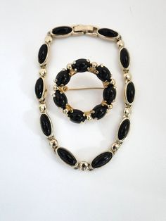 New to MyVtgJewelryShop on Etsy: Vintage Bracelet and Brooch Signed Liz Claiborne Onyx Pin Jewelry Sets on Etsy (18.00 USD)