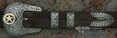 "Solid Sterling Silver ""El Dorado"" Ranger Belt Buckle Set w/Gold & Shakudo"