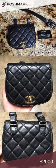 RARE Vintage Authentic CHANEL Waist Bag w/ Card RARE Vintage Authentic CHANEL Waist Bag with authenticity card. Excellent condition with some light wear. Some color loss to hardware. Bag authenticated by Carol Diva LLC- confirmation available. This bag will also be automatically sent to Posh concierge for authentication since it is over $500  True fashion Statement  CHANEL Bags Mini Bags