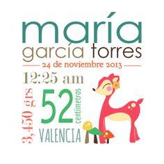 Cuadro de nacimiento con los datos del bebé. Más información: info@9lunas.com www.9lunas.com