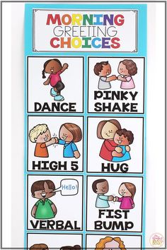 Help build classroom community and have a great day by creating a sign of morning greeting choices! Kindergarten, first grade, and second grade students will love making a greeting choice and greeting their teacher or classmates as they enter the classroom or during morning meeting. #morninggreetingchoices #classroomcommunity #morningmeeting