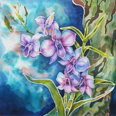 COOKTOWN ORCHIDS hand painted silk by Violetta Kurbanova - $480 available to buy at bluethumb.com.au/silkpainting #floral #art #painting