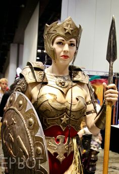 EPBOT: MegaCon Part 2 Best Wonder Woman I have seen in a long time. I truly appreicate that she is in battle gear.way f*cking better than Megan dumb a*s. The Birthday Massacre, Warrior Costume, Cosplay Armor, Wonder Women, Mascot Costumes, Choir, Dumb And Dumber, Cool Outfits, Superhero