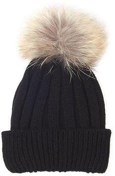 marcus adler (Girls 7-14x) Real Fur Pom Pom Knit Beanie