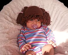 Cabbage Patch inspired Hat baby wig Brown hair by YarnitCindy, $19.49