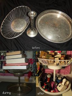 Need to use up some of those silver trays I have and make these.  Josie Song Handmade: This week: Tiered Storage